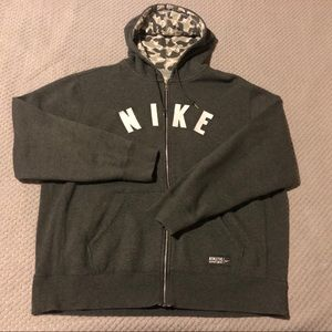 Nike Spell Out Full Zip Hoodie Camo Hood Sweater